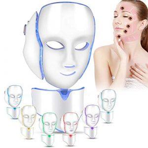 7 couleurs LED masque facial de traitement de la lumière avec Cou, rajeunissement beauté de masque facial, soin visage anti-rides anti-acné masque de beauté