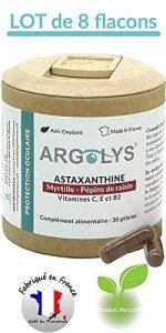 Argolys® – Astaxanthine, Myrtille, Pépins de raisin, beta carotène, vitamines et minéraux (8 flacons)