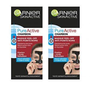 Garnier Pure Active Charbon Masque Peel-Off Anti-Points Noirs 50 ml – Lot de 2