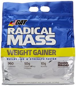 GAT Radical Mass Weight Gainer Chocolate Milkshake 10 lbs