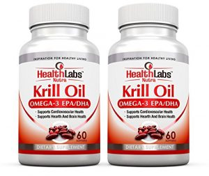 Health Labs Nutra Omega 3 Krill Oil 1000mg par portion (2 gélules) d'alimentation plus forte Concentration d'oméga-3, 6 9 de DHA/EPA (Ensemble de 2)