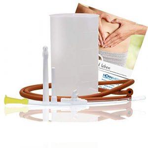 Horn Medical bocal à lavement de 1 litre pour côlon et/ou irritation vaginale, pour un usage personnelle à faire chez soi (Plus tube intestinal mou)