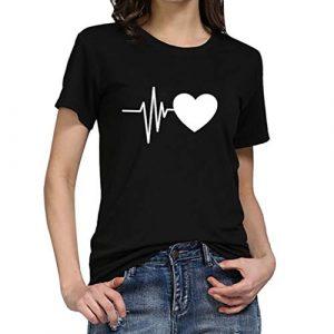 Liusdh Femmes Tops Mode Loose Col O Col Imprimé Coeur Polyester T-Shirt Tops Causal Manches Courtes Courtes Cropped -Shirt Chemisier Quotidien Été Printemps Automne