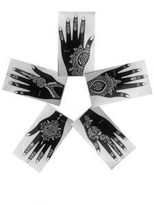 Lot de 5droite partie supérieure de Vu à la main en vogue simplement indien d'Arabie Tattoo Stickers repositionnables Laminau Pochoirs