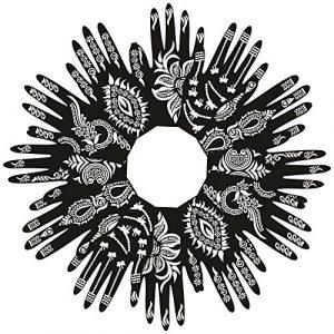 Pochoirs de tatouage de henné de PARTH IMPEX (paquet de 12) Auto-adhésifs beaux dessins d'art de peinture de corps Temporary Mehndi dessin main modèle