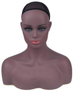 Professional femelle Tête de mannequin avec épaules et Buste foncé Teint unité de support d'affichage