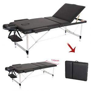 Vinteky Table de massage pliante en aluminium 3 zones housse de transport Lit Professionnel d'esthetique pour Les Salons (Noir)