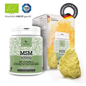VITA1 MSM 600 mg • 365 gélules (alimentation pour 6 mois) • soufre organique avec de la vitamine C • Fabriqué en Allemagne
