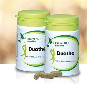 Lot de 2 DUOTHE – 60 gélules – Complexe naturel de 2 Thés Verts – aide à la dégradation des graisses – favorise l'élimination de l'eau et des toxines – réduit le taux de glucose et le mauvais cholestérol