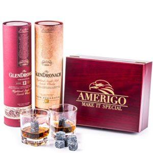 Deluxe Ensemble de Cadeaux Whisky Pierres – Soyez différent lors du choix d'un cadeau – Coffret en bois artisanal avec un 2 verres à whiskey – 8 Glacon Granit – Whisky Stones Gift Set – Whiskey Rocks
