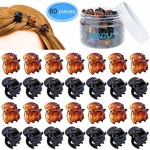 EAONE Lot de 60 mini pinces à cheveux pour fille et femme Noir et marron avec boîte