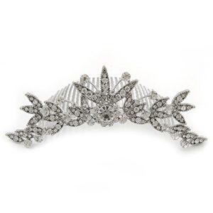 Mariage/mariage/Prom/fête Plaqué rhodium Cristal Swarovski fleur & Feuille Peigne à cheveux/Tiare–13cm