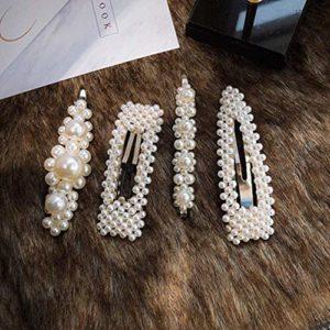 Pinces à Cheveux Perles, 4 Pcs Épingles à Cheveux Perle Artificielle Pince à Cheveux Accessoires pour Filles Femmes Anniversaire Cadeaux Saint Valentin Épingles à cheveux Bling Chapellerie