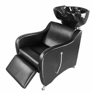 DNNAL Shampooing Barber Backwash Chaise, Céramique Shampooing Bol évier Chaise pour Spa Salon De Beauté Réglable Tête de Lavage des Cheveux Lit