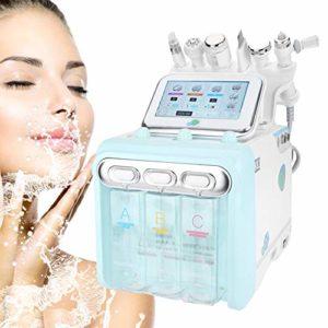 La machine faciale de soin, 6 dans 1 instrument ultrasonique ultrasonique de salon de spa d'injection de l'eau de dispositif de beauté de l'oxygène d'hydrogène pour le rajeunissement de peau(EU)