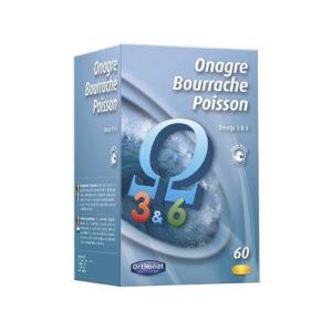 Orthonat – Onagre bourrache poisson – 60 capsules – énergie, vitalité physique et intellectuelle
