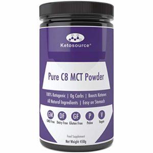Pure C8 MCT Poudre | 0g de glucides | Sans gluten & Vegan Friendly | 100% cétogène | Tous les ingrédients naturels | Ketosource® (450g non aromatisé)