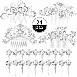 24 Pièces Peignes à Cheveux de Mariage Pince à Cheveux Strass Perle Cristal Accessoires de Cheveux Latéraux et Épingles à Cheveux en Forme de U pour Mariées et Demoiselles d'Honneur