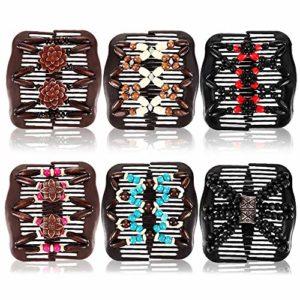 6pcs Pince à Cheveux Extensible Magique Peigne Peignes Magiques Rétractables