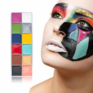 Halloween Face Painting, 12 Flash Color Case Professional Face Oil Painting Set, Non-Toxic Art Party Make Up Oil Painting For Art Party And Festivals