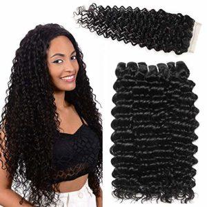 LVY Cheveux Naturel Brésilienne Closure Frontale Bresilienne Avec 3 Liasses Cheveux Humains Cheveux Bresilien Lisse Tissage 18 20 22+16 Inch