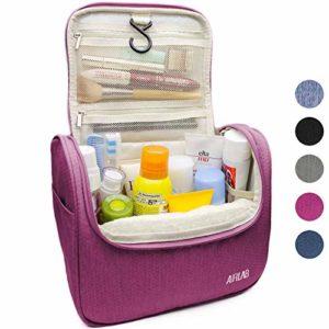 Trousse sac trousse de toilette cosmétiques, avec crochet et poignée, taille: 24 x 19,5 x 12,5 cm, Rosé