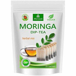 Thé Moringa 100% naturel et végétalien (en option mélange de feuilles, pomme-cannelle, grenade, gingembre, menthe). 1A Quality (20 sachets de thé Moringa-mélange de feuilles)