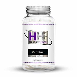 Health Hack – Lot de 100tablettes de caféine, 200mg