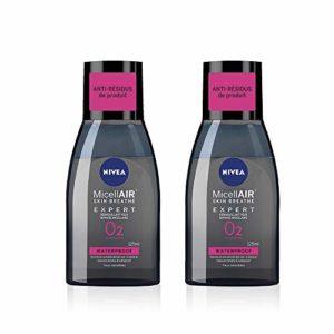 NIVEA MicellAIR SKIN BREATHE Expert Démaquillant Biphase (2 x 125 ml), nettoyant visage & yeux sensibles, démaquillant waterproof enrichi en extrait de Thé Noir