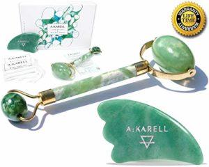 Akarell Rouleau de Jade et Gua Sha 100% Vrais Jade – Massage du Visage Drainage Lymphatique Soins de la Peau Outil de Gommage Anti Rides Facial JADE ROLLER and GUA SHA SET (Green Jade), masseur facial