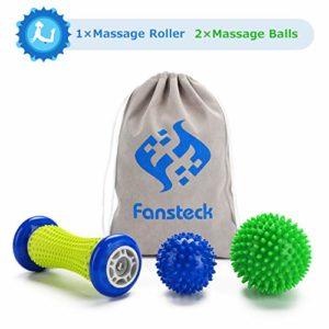 1 Rouleau de Massage et 2 Balle de Massage Fansteck Boule de Massage en différents picots, relâchement du muscule et os outil d'automassage pour les pieds, dos, épaules, bras