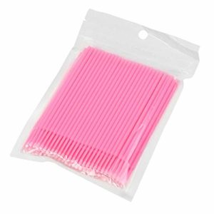 100 Pcs Jetables Micro Brosses Applicateurs De Coton-Tige Tube pour Cils Extension Enlèvement De Colle Cils Graft Outils – Rose