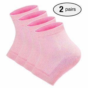 2 paires de chaussettes de talon en gel hydratant doux, chaussettes ventilées à bout ouvert pour une peau sèche et craquelée, hydratante pour la peau de jour