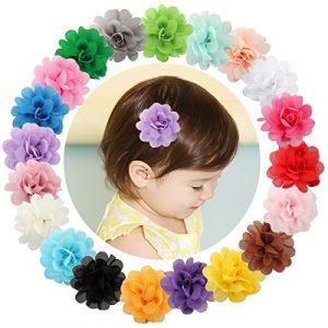 20épingles à cheveux Txian à fleurs pour petites filles en mousseline de soie, pinces crocodile, barrettes à cheveux
