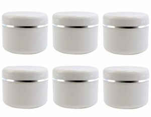 6pots vides de recharge en plastique blanc pour maquillage, cosmétiques, avec couvercle à visser et revêtement en polypropylène 50G/1.7oz blanc