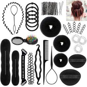 Accessoires de Coiffure, ivencase 28pcs Hair Styling Accessories Kit Mode Élastiques Pince Coiffure Boudin Rouleau Bigoudis Magique Chignon Clip Torsade de tresse Cheveux Kit