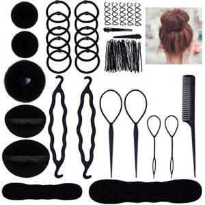 Accessoires de Coiffure, Lictin Set d'Outils de Coiffure Cheveux Coiffure Stylisée Accessoire Cheveux Filles Eponge en Mousse Clip à Chignon Tresse