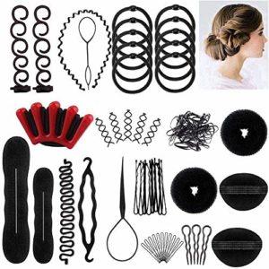 Accessoires de Coiffure,25Styles Multi Set Outils de coiffure Kit de Coiffure pour Femmes et Filles Convient pour Les Débutants Noir