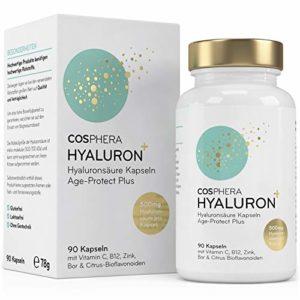 Acide hyaluronique – Dosage élevé 350 mg – 90 capsules végétaliennes pour 3 mois de cure – 500-700 kDa – Enrichies en vitamines C, B12 et zinc – pour la peau, les articulations, anti-âge – Cosphera