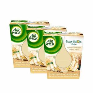 Air Wick Bougie Essential Huile Vanille – Lot de 3