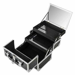AMASAVA Valise maquillage Coffret cosmétique Boîte à maquillage Beauty case avec Miroir et clé Coffrets professionnelle Mallette à maquillage- 25.5 × 19.5 × 22(Noir)