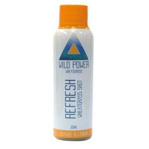 Améliore le système immunitaire – Chlorophylle – Vitamines – Protéines – Alcali – Végétalien – Superaliments – Jus d'herbe de blé à l'orange et au citron – 7 x 60 ml chez Wild Power Wheatgrass