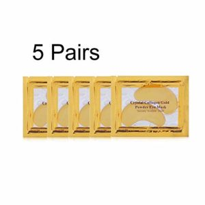 ankunlunbai Lot de 5 paires de masques hydratants et anti-rides en cristal d'or naturel collagène pour femmes