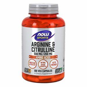 Arginine & citrulline 500/250 mg – 120 gelules – Now foods