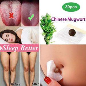 Autocollant de fines herbes de pâte de nombril de Mugwort paste de ventre de Mugwort pour dissiper le froid et l'humidité améliorant l'indigestion bouleversée d'estomac, meilleure qualité de sommeil