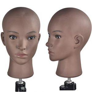 Ba Sha Afro Cosmétologie Mannequin Tête chauve Mannequin Tête de Mannequin pour la fabrication de Perruques Présentoir Chapeau Lunettes avec pince offerte