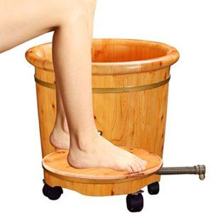 Bao Xing Bei Firm Sels de bain Pied bain baril maison pied bain rehauts pieds bois baril seau à bois solide pied bain seau (Color : Wood color, Size : 31.5*36*42cm)