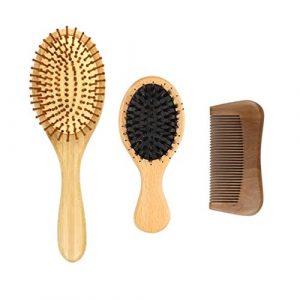Beaupretty Peigne à Cheveux Ensemble de Brosse à Cheveux à Palette Plate Brosse à Cheveux Airbag avec Manche en Bois Outil de Coiffure de Peigne à Cheveux Portable pour Femmes Hommes