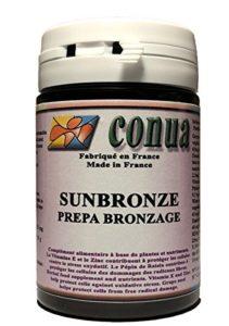 Beta Carotène Naturel ⭐️ pour préparer, activer et prolonger efficacement le bronzage tout en préservant la peau. Nutriments naturels caroténoïdes, vitamine E Dosage optimal accéléré par la L-Tyrosine, précurseur de la mélanine, Protection de la peau : Puissant Antioxydants + Germe de blé + OPC de raisin + Zinc SUNBRONZE solaire PREPA BRONZAGE GELULE VEGETALE FABRIQUEES EN FRANCE SUN BRONZE sans carotte autobronzantes