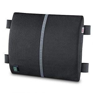 Beurer HK 70 Dossier de fauteuil avec fonction de chauffage, coussin de soutien du dos pour une posture d'assise ergonomique, coussin chauffant intégré, peut également être utilisé en voiture